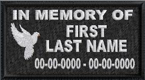 In Memory Of Patch with Dove Full Embroidered with Name and Dates