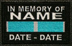 In Memory Of KOREA SERVICE RIBBON Full Embroidered with Name and Dates