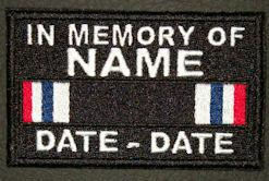 In Memory Of POW-MIA SERVICE RIBBON Full Embroidered with Name and Dates