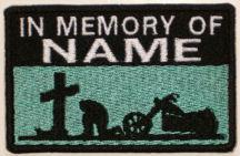 In Memory Of Patch 1 Line Cross and Motorcycle Rider - Aqua