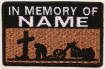 In Memory Of Patch - Cross and Motorcycle Patch - Lt Brown Sky