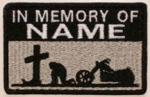 In Memory Of Patch - Cross and Motorcycle Patch - Lt Silver Sky