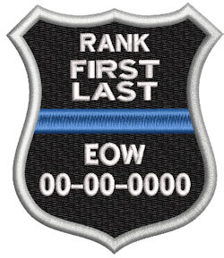 In Memory Of Police Shield Thin Blue Line Shield patch