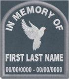 In Memory Of Tombstone Dove Patch PT