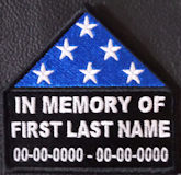 In Memory Of Folded Flag Patch with Name and Dates