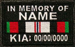 In Memory Of AFGHANISTAN SERVICE RIBBON Full Embroidered with Name and Dates