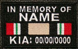 In Memory Of IRAQ SERVICE RIBBON KIA Full Embroidered with Name and KIA Date