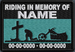 Riding In Memory Of Patch - Cross and Motorcycle Rider Patch - Aqua Green Sky