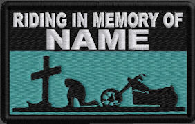 Riding In Memory Of Patch 1 Line Cross and Motorcycle Rider - Aqua Green