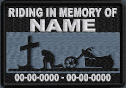 Riding In Memory Of Patch - Cross and Motorcycle Rider Patch - MidNight Blue