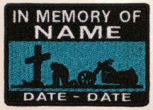 In Memory Of Patch - Cross and Motorcycle Rider Patch - MidNight Blue