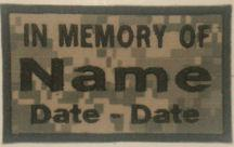 In Memory Of Camouflage Patch - 2 Lines