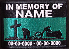 In Memory Of Patch - Cross and Motorcycle Rider Patch - Aqua Green