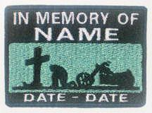 In Memory Of Patch - Cross and Motorcycle Patch - Aqua Sky