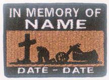 In Memory Of Patch - Cross and Motorcycle Patch - Lt. Brown Sky