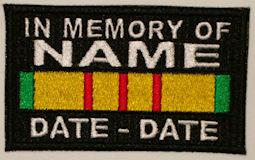 In Memory Of VIETNAM SERVICE RIBBON Full Embroidered with Name and Dates