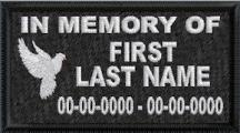 In Memory Of Dove Full Embroidered - Name & Dates