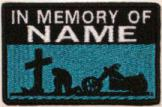 In Memory Of Patch 1 Line Cross and Motorcycle Rider - Midnight Blue