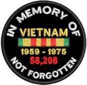 In Memory Of VIETNAM Not Forgotten 3in Rd Patch