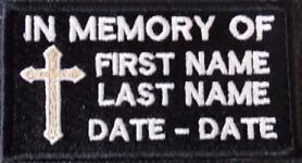 In Memory Of with Cross Patch
