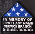 In Memory Of Folded Flag Patch2 with Service Branch - Name and Dates