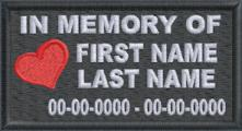 In Memory Of patch with Heart Full Embroidered with Dates