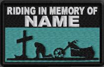 Riding In Memory Of Patch - Cross and Motorcycle Rider - Aqua Green
