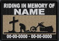 Riding In Memory Of Patch - Cross and Motorcycle Rider - Lt Brown
