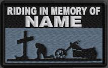 Riding In Memory Of Patch 1 Line Cross and Motorcycle Rider - Midnight Blue