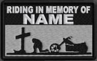 Riding In Memory Of Patch 1 Line Cross and Motorcycle Rider - Lt Silver