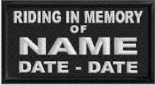 Riding In Memory Of Full Embroidered - Name and Dates