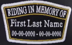 Riding In Memory Of Plaque Patch with Name and Dates