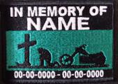 In Memory Of Patch - Cross and Motorcycle Rider Patch - Aqua Green Sky