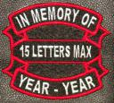 In Memory Of RIBBON and BAR Embroidered with Name and Year