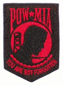 POW  MIA Embroidered patch - Black-Red