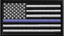 US Flag - Thin Blue Line - Black-White