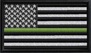 US Flag Subduded Thin Green Line - Black-White