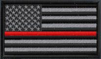 US Flag Subduded Thin Red Line - Black-Gray