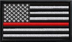 US Flag Subduded Thin Red Line - Black-White