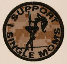 I Support Single Moms Patch - Desert Camo